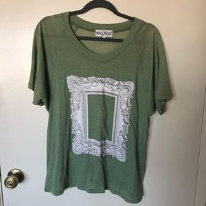 WILDFOX COUTURE Green Victorian Frame T Shirt S